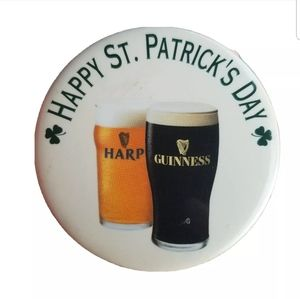 Guinness Harp Happy St Patricks Day Button Pin Bee